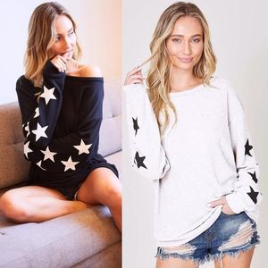 TIA Star Power Sweater Top - OFF WHITE